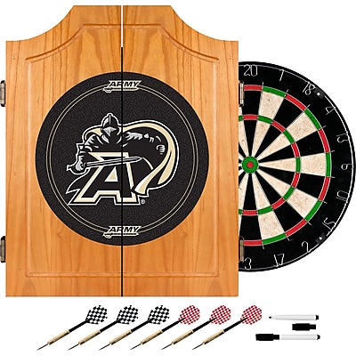Trademark Global® Solid Pine Dart Cabinet Set, NCAA Army Black Knights