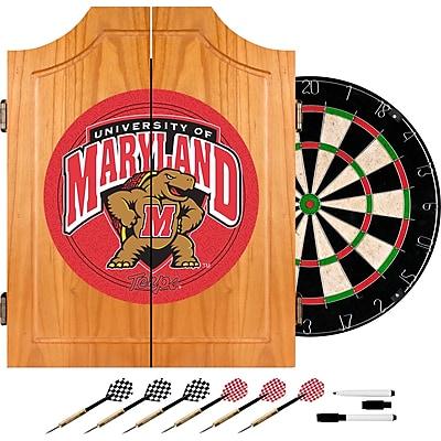 Trademark Global® Solid Pine Dart Cabinet Set, NCAA Maryland University