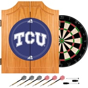 Trademark Global® Solid Pine Dart Cabinet Set, NCAA Texas Christian University