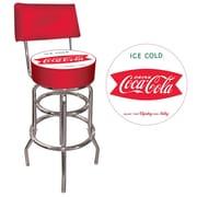Trademark Global® Vinyl Padded Swivel Bar Stool With Back, Red, Vintage Coca-Cola Coke Pub Stool