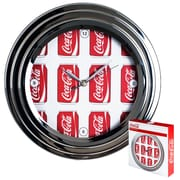 Trademark Global 1300-CANS Metal Analog Coca-Cola Wall Clock, Gray