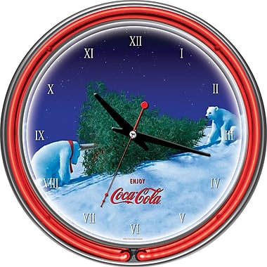 Trademark Global® Chrome Double Ring Polar Bear With Tree Analog Neon Wall Clock, Coca-Cola®
