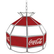 "Trademark Global® 16"" Stained Glass Vintage Tiffany Lamp, Red/White, Coca Cola® Vintage"