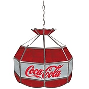 """Trademark Global® 16"""" Stained Glass Vintage Tiffany Lamp, Red/White/Gray, Coca Cola® Vintage"""