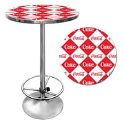 "Trademark Global® 28"" Solid Wood/Chrome Pub Table, Red, Coca Cola® Checker"