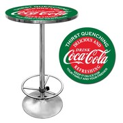 "Trademark Global® 28"" Solid Wood/Chrome Pub Table, Red, Coca Cola® Red/Green"