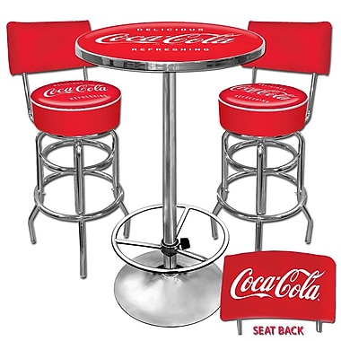 Trademark Global® Ultimate 2 Bar Stools With Back and Table Gameroom Combo, Coco Cola