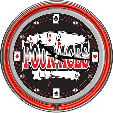 Trademark Global® Chrome Double Ring Analog Neon Wall Clock, Four Aces