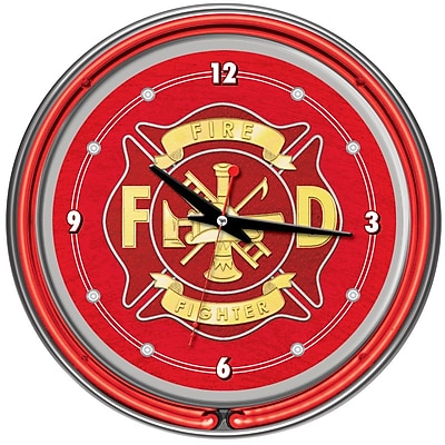 Trademark Global® Chrome Double Ring Analog Neon Wall Clock, Fire Fighter