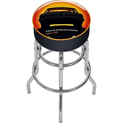 Trademark Global® Vinyl Padded Swivel Bar Stool, Black, Pontiac GTO Time & Distance