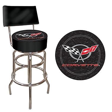 Trademark Global® Vinyl Padded Stool With Back, Black, Corvette C5