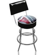 Trademark Global® Vinyl Padded Swivel Bar Stool With Back, Black, Pontiac