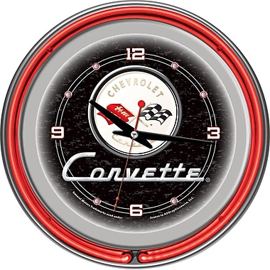 Trademark Global® Chrome Double Ring Analog Neon Wall Clock, Corvette C1, Black
