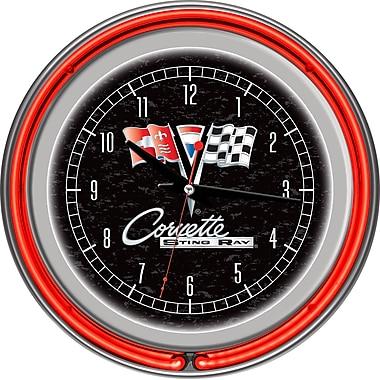 Trademark Global® Chrome Double Ring Analog Neon Wall Clock, Corvette C2, Black