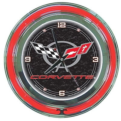 Trademark Global® Chrome Double Ring Analog Neon Wall Clock, Corvette C5, Black