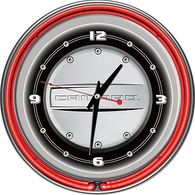 Trademark Global® Chrome Double Ring Analog Neon Wall Clock, Chevrolet Camaro