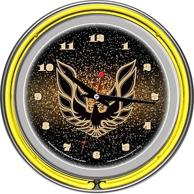 Trademark Global® Chrome Double Ring Analog Pontiac Firebird Neon Wall Clocks