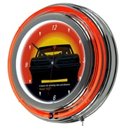 Trademark Global® Chrome Double Ring Analog Neon Wall Clock, Pontiac GTO - Time & Distance