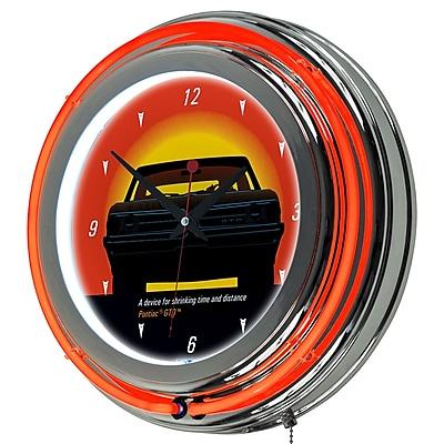 Trademark Global® Chrome Double Ring Analog Neon Wall Clock, Pontiac GTO - Time & Distance