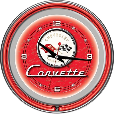 Trademark Global® Chrome Double Ring Analog Neon Wall Clock, Corvette C1, Red
