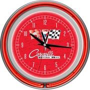 Trademark Global® Chrome Double Ring Analog Neon Wall Clock, Corvette C2, Red