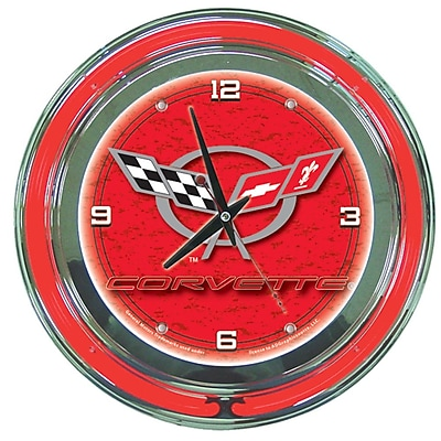 Trademark Global® Chrome Double Ring Analog Neon Wall Clock, Corvette C5, Red