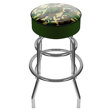 Trademark Global® Vinyl Padded Swivel Bar Stool, Hunter Green, Hunting Camo