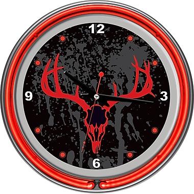 Trademark Global® Chrome Double Ring Analog Neon Wall Clock, Hunt Skull