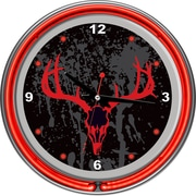 Trademark Global® Chrome Double Ring Analog Neon Wall Clock, Hunt Skull