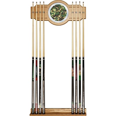 Trademark Global® Wood and Glass Billiard Cue Rack With Mirror, Hunt Camo