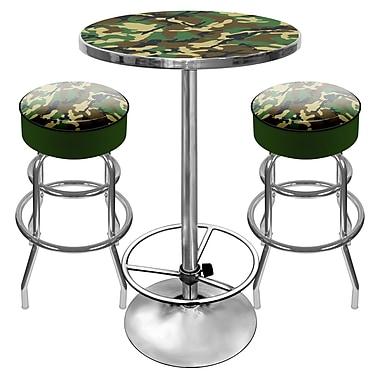 Trademark Global® 2 Bar Stools and Table Gameroom Combo, Hunt Camo
