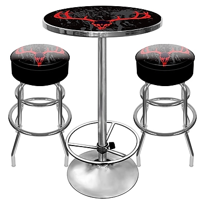 Trademark Global® 2 Bar Stools and Table Gameroom Combo, Hunt Skull