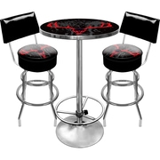 Trademark Global® 2 Bar Stools With Back and Table Gameroom Combo, Hunt Skull