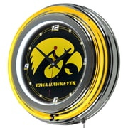 Trademark Global® Chrome Double Ring Analog Neon Wall Clock, NCAA University of Lowa
