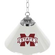 "Trademark Global® 14"" Single Shade Bar Lamp, White, Mississippi State™ NCAA"