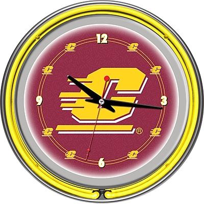 Trademark Global® Chrome Double Ring Analog Neon Wall Clock, NCAA Central Michigan University