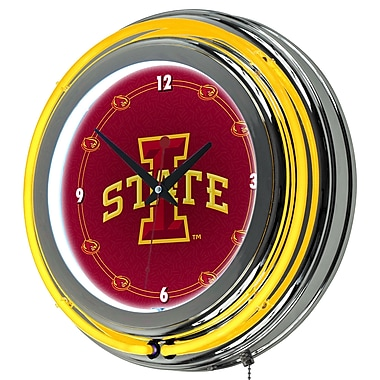 Trademark Global® Chrome Double Ring Analog Neon Wall Clock, NCAA Lowa State University