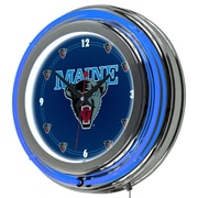 Trademark Global® Chrome Double Ring Analog Neon Wall Clock, NCAA University of Maine