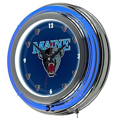 Trademark Global® Chrome Double Ring Analog Neon Wall Clock, NCAA University of Maine