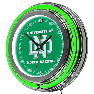 Trademark Global® Chrome Double Ring Analog Neon Wall Clock, NCAA University of North Dakota