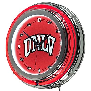 Trademark Global® Chrome Double Ring Analog Neon Wall Clock, NCAA UNLV™