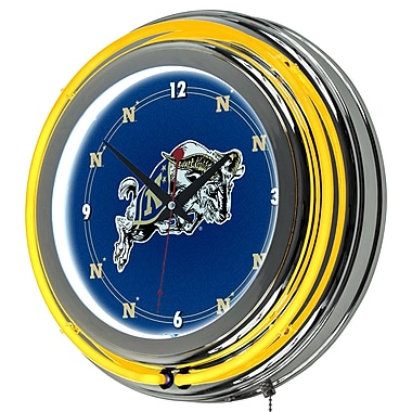 Trademark Global® Chrome Double Ring Analog Neon Wall Clock, NCAA United States Naval Academy