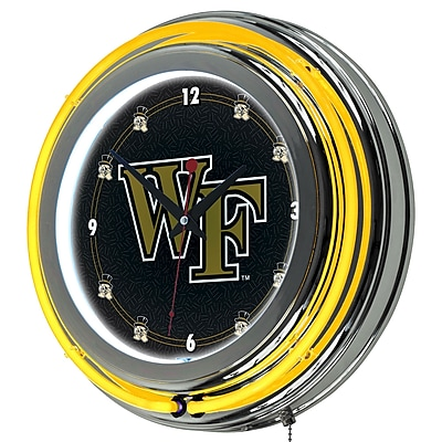 Trademark Global® Chrome Double Ring Analog Neon Wall Clock, NCAA Wake Forest University