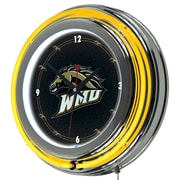 Trademark Global® Chrome Double Ring Analog Neon Wall Clock, NCAA Western Michigan University