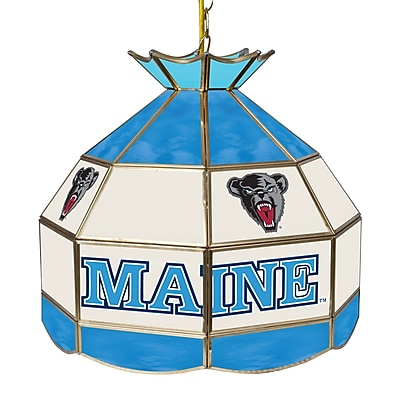 """Trademark Global® 16"""" Stained Glass Tiffany Lamp, University of Maine NCAA"""