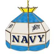 "Trademark Global® 16"" Stained Glass Tiffany Lamp, U.S. Naval Academy NCAA"