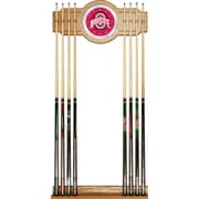 Trademark Global® NCAA Wood and Glass Wall Cue Rack With Mirror, The Ohio State University