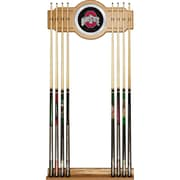Trademark Global® NCAA Wood and Glass Wall Cue Rack With Mirror, The Ohio State University, Black