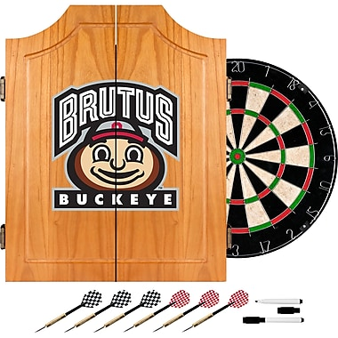 Trademark Global® Solid Pine Dart Cabinet Set, NCAA Ohio State University Brutus Buckeye