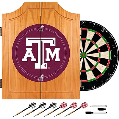 Trademark Global® Solid Pine Dart Cabinet Set, NCAA Texas A&M University